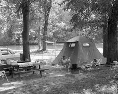 black and white camping picture of tent