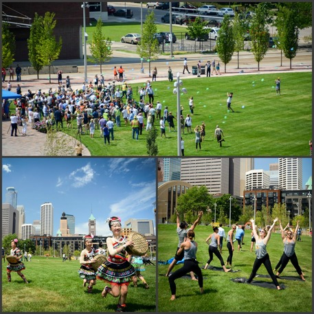 Commons Collage (Top): Instead of cutting a ribbon, Frisbees were tossed to officially open the park. (Bottom, left to right): The Asian Dance Team an