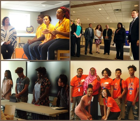 Top (left to right): Cookie Cart STEP-UP intern panel and STEP-UP intern Amira speaking at U.S. Bank; Bottom (left to right): Minneapolis Public Schoo