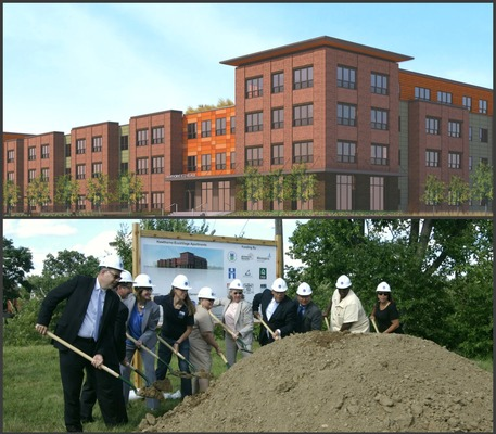 Rendering of Hawthorne EcoVillage Apartments and Ground breaking pictures