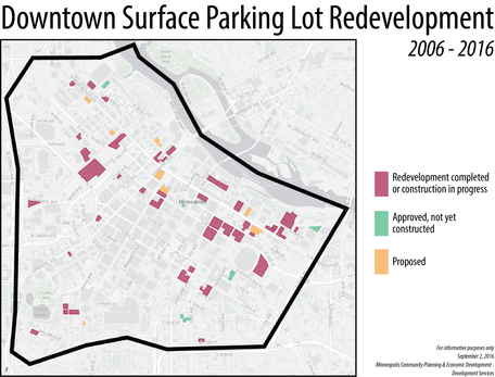Downtown Surface Parking Lot Redevelopment Map