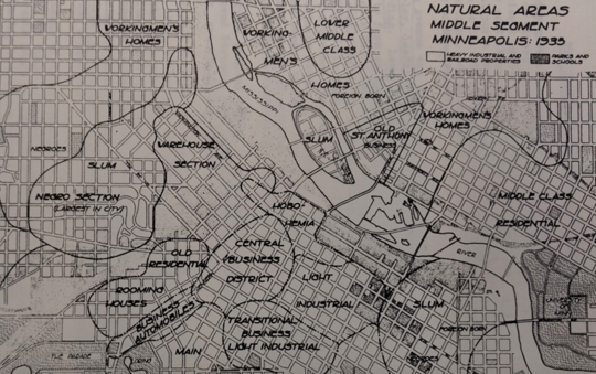 "Calvin Schmid's 1937 map of the ""Natural Areas"" of Minneapolis, from ""A Social Saga of Two Cities"""