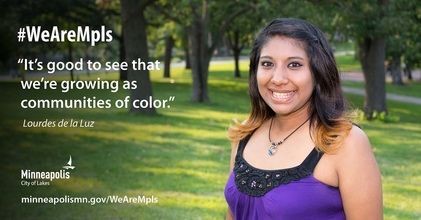 """Image of Lourdes de la Luz with quote """"it's good to see that we're growing  as communities of color"""""""