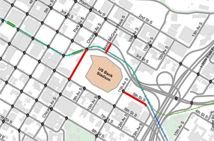 Super Bowl road closure map