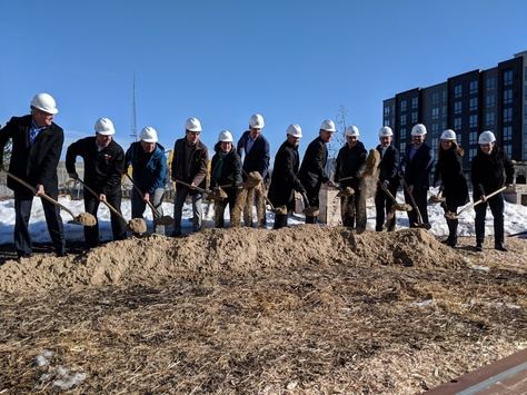 Photo of local leaders breaking ground for new apartment homes near Prospect Park