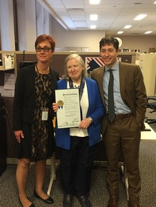 photo of Minneapolis election director Grace Wachlarowicz, retiring student election judge coordinator Mary Davis, and Mayor Jacob Frey