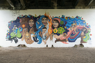 Greenway Mural by Minneapolis College of Art & Design, Little Earth of United Tribes, & Midtown Greenway Coalition; Artist Melodee Strong
