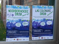 Neighborhoods 2020 Meeting Sign in English and Spanish