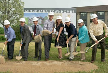 photo of leaders at the groundbreaking of the Minnehaha Townhomes