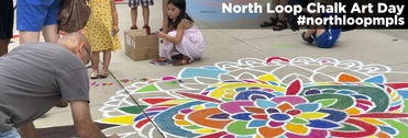 North Loop Neighborhood Association Chalk Art Day Flower Mural 2018