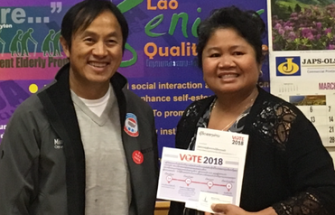 Michael Yang and Bounleuth Prayounkham – Gowing, Executive Director of Lao Advancement Organization of America on  Voter Registration Day 2018