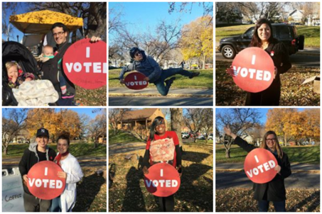 Kingfield Votes 2016 Collage of Residents Holding I Voted Signs