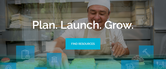 Plan. Launch. Grow. written over photo of a chef in his bakery, screenshot of Minneapolis Business Portal