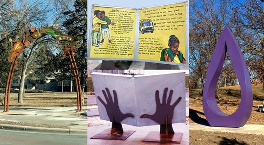 Art sculptures on Northside Mpls photo collage