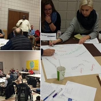 Collage of Neighborhoods 2020 community meetings from 2016