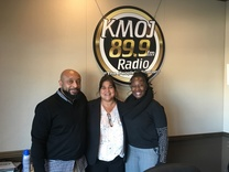 Anthony Taylor, Nuria Rivera-Vandermyde and radio host Glamlife Kim at Minneapolis 360's Inaugural Show on KMOJ