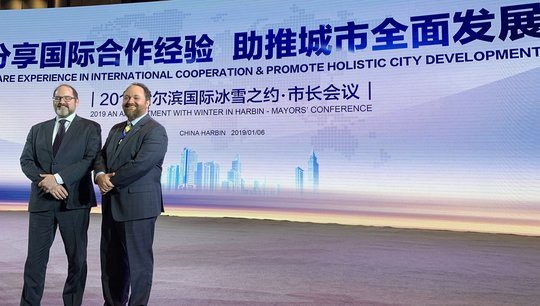 Council Member Steve Fletcher and Council Member Kevin Reich on a Minneapolis delegation to Harbin, China
