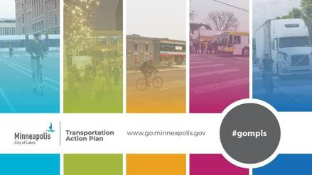 Transportation Action Plan illustration of biking walking bus and scooter