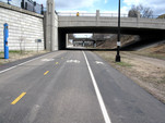 Midtown Greenway infrastructure image with bike and walking paths.