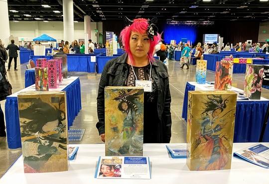 Artist by her artwork mock gallery of art wraps