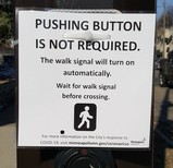 Pushing button is not required sign