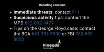 Reporting concerns graphic. When and how to call 911, the BCA or the FBI.