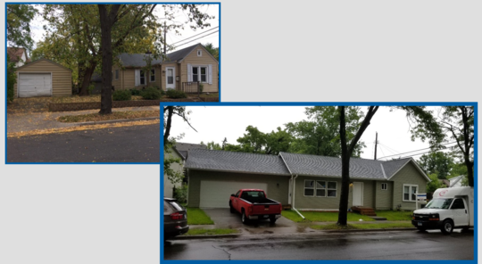 before and after exterior of a Minneapolis home