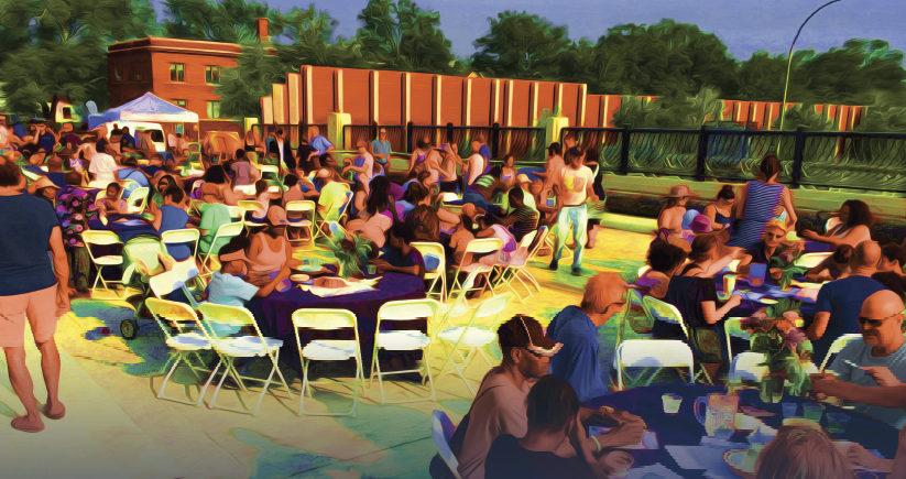A rendering of people gathered outside for a picnic