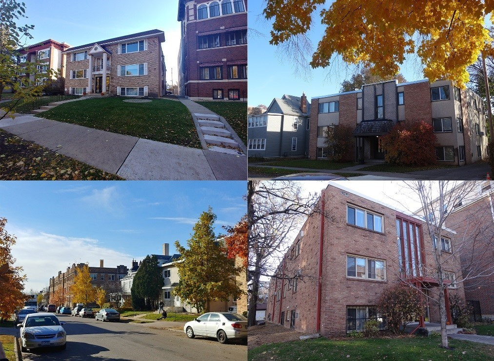 collage of the exterior of homes in Minneapolis participating in the 4d Affordable Housing Program