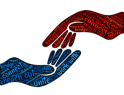 """Hands with synonyms of the word """"collaborate"""""""