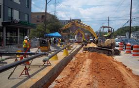 PSNC crews image, installing gas line on Hillsborough St.