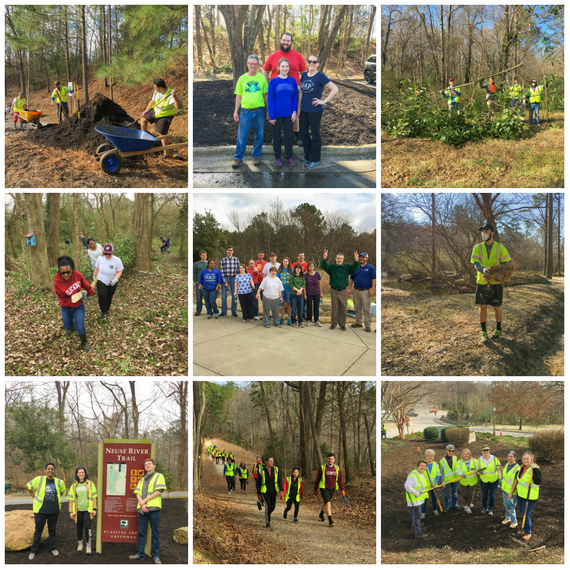 Photo collage of volunteer projects in February