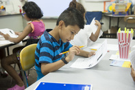NC Elementary Student taking a test
