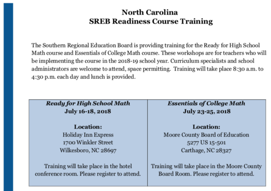 SREB Math Readiness Training