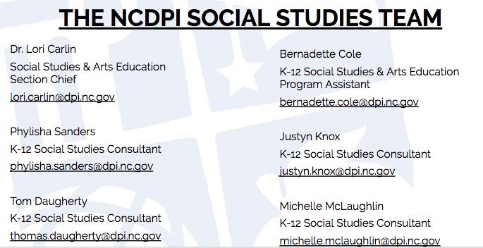 NCDPI Social Studies Team Contact information 2019