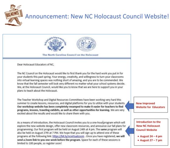 NC Holocaust Letter 1