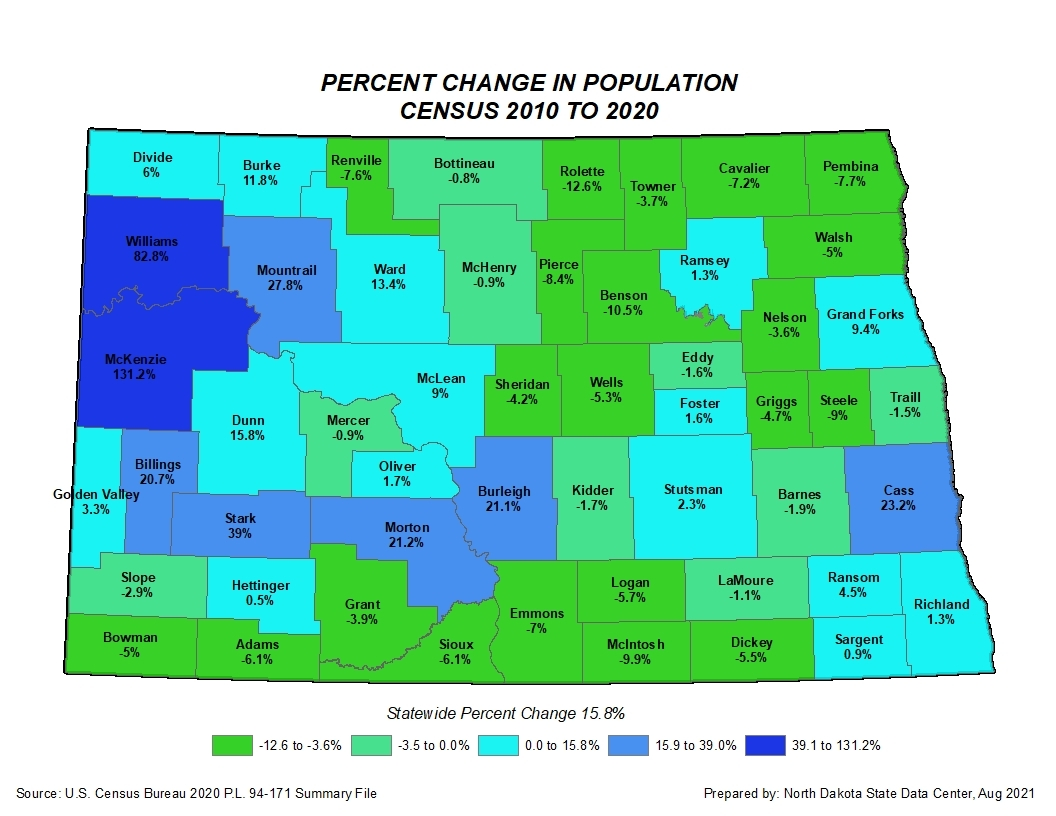 Census 2010-2020 percent change in counties