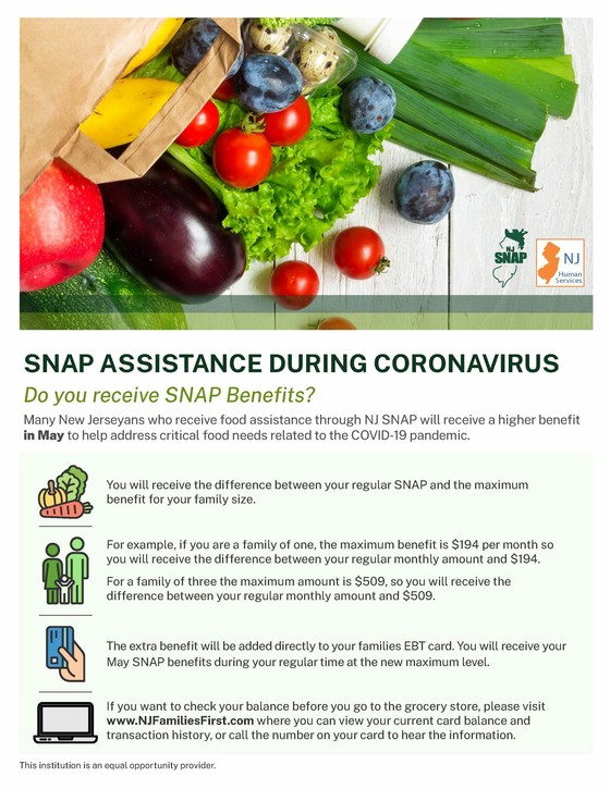 SNAP benefits -- May