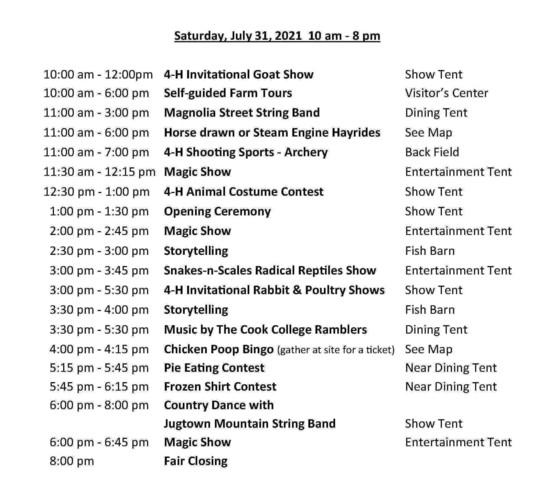 2021 4-H schedule - Saturday