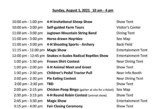 2021 4-H schedule -- Sunday2