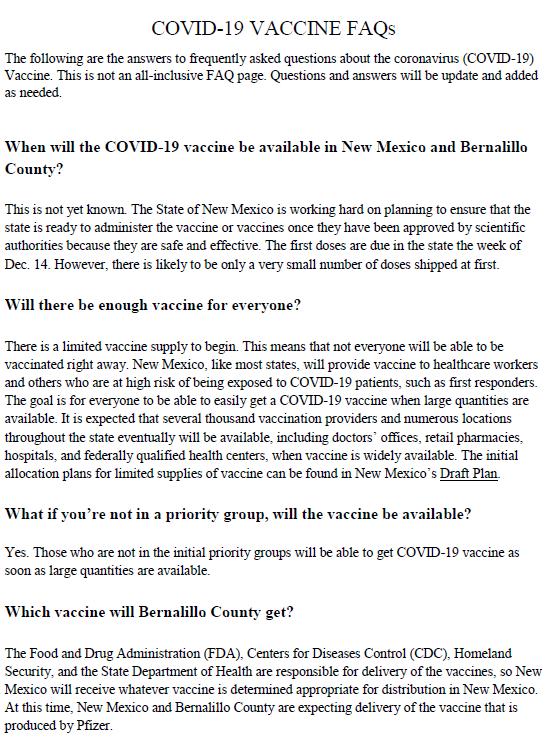 Vaccine FAQs