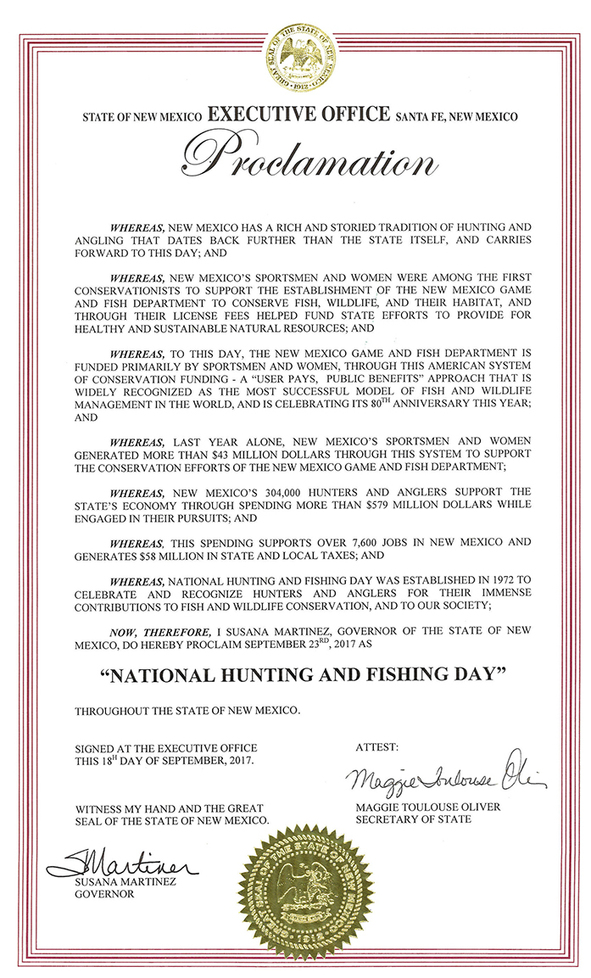 Governor declares saturday sept 23 national hunting and for Nm game and fish proclamation 2017