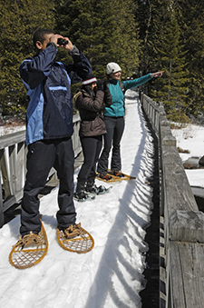 Some people snowshoeing