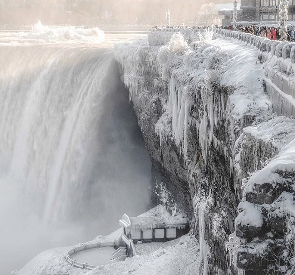 Niagara Falls frozen from extreme cold