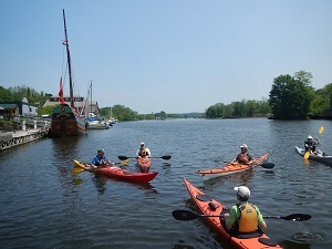 Kayakers on the Rondout in Kingston by Karl Beard