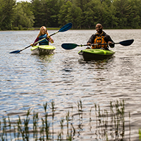 Couple Paddling Outdoors