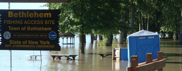 The riverfront park and fishing docks in Bethlehem were underwater after Tropical Storm Irene.