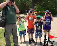 Father teaching his sons to bird watch with binoculars at a guided bird watching event