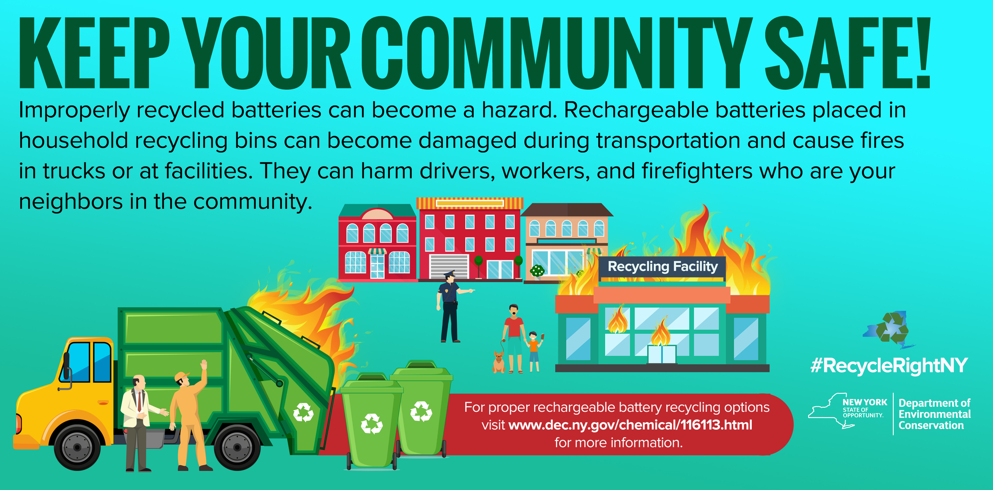 Keep your community safe! Rechargeable batteries placed in household recycling bins during transportation cause fires in trucks or at facilities.