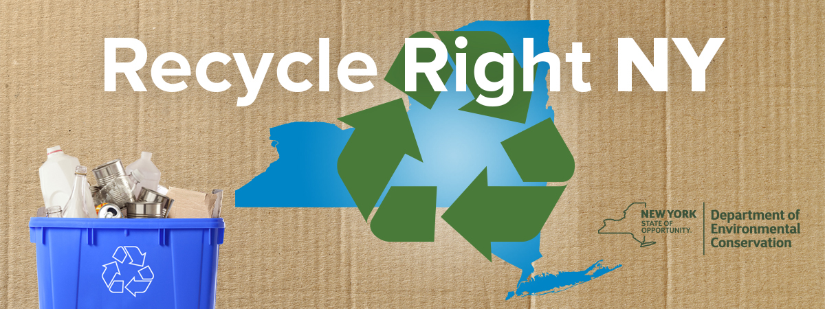 Graphic showing the Recycle Right NY campaign logo